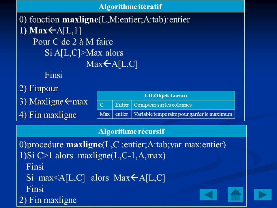 0) fonction maxligne(L,M:entier;A:tab):entier 1) MaxA[L,1]